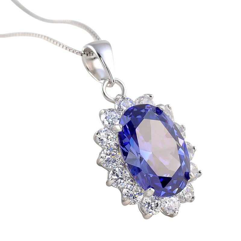 6.4 Ct Oval Blue Zirconia Pendant Sterling Silver with Chain 1017