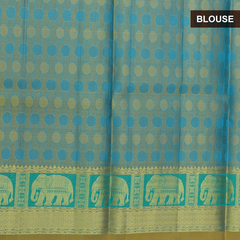 Pure silk pavadai material blue and yellow with overall self emboss and golden zari elephant border for 6 to 10 years