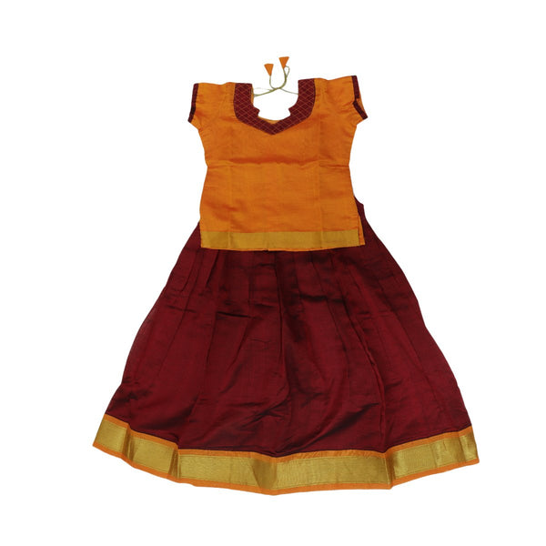 Silk cotton paavadai sattai maroon and mango yellow with golden zari border ( 8 years )