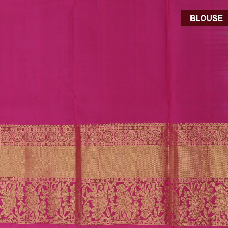 Pure silk half saree dual shade of green with allover gold & silver zari round buttas and contrast pink blouse & Dupatta