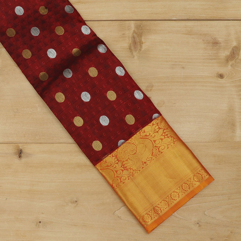 Pure silk pavadai material maroon and mustard yellow with overall zari buttas and golden zari peacock border for 3 to 5 years