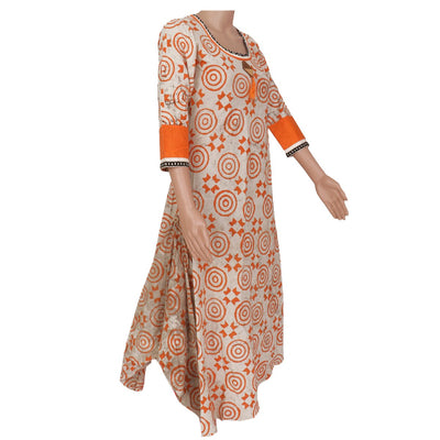 Cotton Kurta Off white and Orange with circular prints