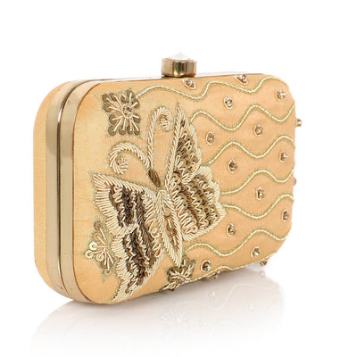 Designer Clutch Cream with Butterfly Embroidery
