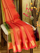 10 yards silk cotton saree dual shade of green and red with traditional zari woven border
