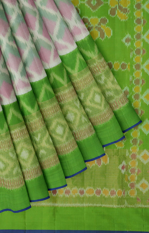 Ikkat soft silk half white with parrot green saree