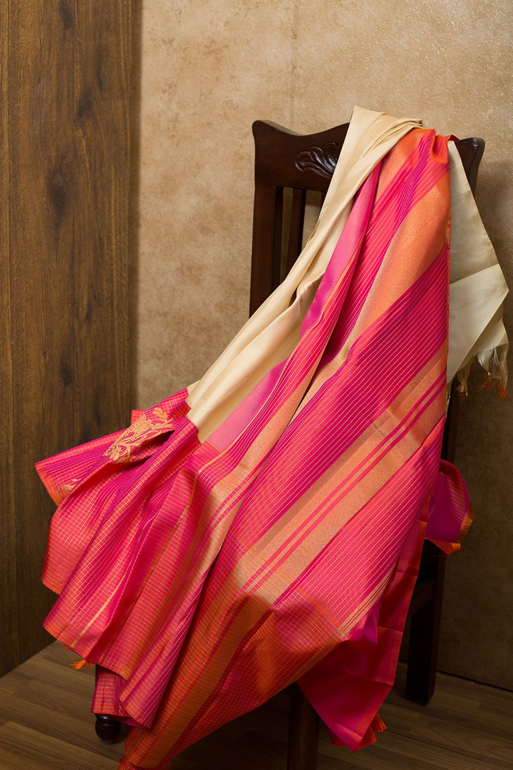 kanjivaram Silk Saree Sandal and Pink shade with Elephant zari border