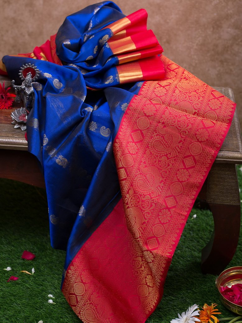 Kuppasadam Silk Cotton Saree Blue with Annam and Mango buttas and Red with annam silk Border