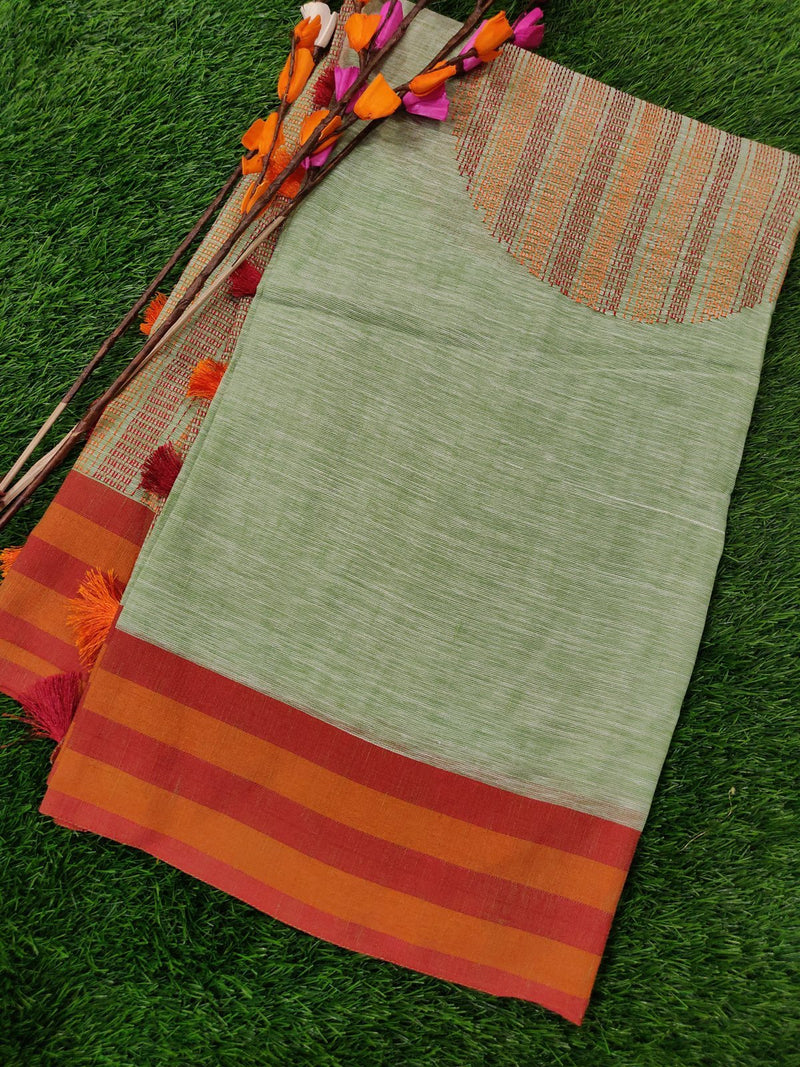 Semi Linen Saree Green with red Stripes Border with Geometric Embroidery