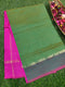 Semi Silk Cotton Saree Green & Pink with Kaddi Zari Border