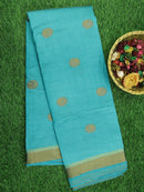 Semi Raw silk saree turquoise blue with simple thread border and thread buttas