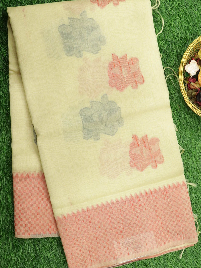 Silk Linen saree off white with checked woven border and floral thread buttas