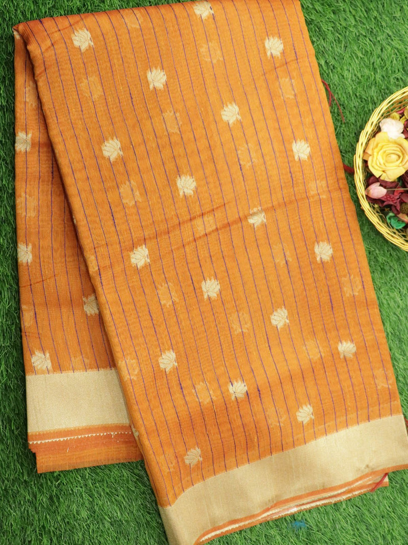 Silk Linen saree rust orange with floral thread woven buttas and border