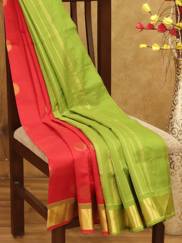 Silk Cotton Saree red and green with golden zari floral coin butta and bavanji border
