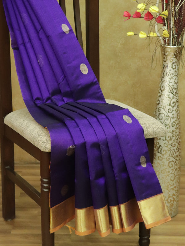 Silk Cotton Saree violet and mustard yellow with golden zari coin butta and bavanji border