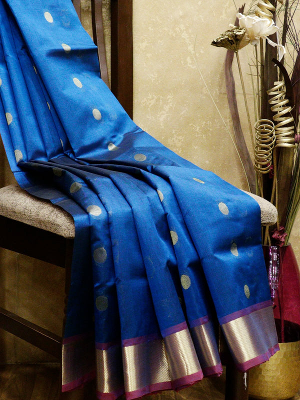 Silk Cotton Saree peacock blue and red with golden zari coin butta and bavanji border