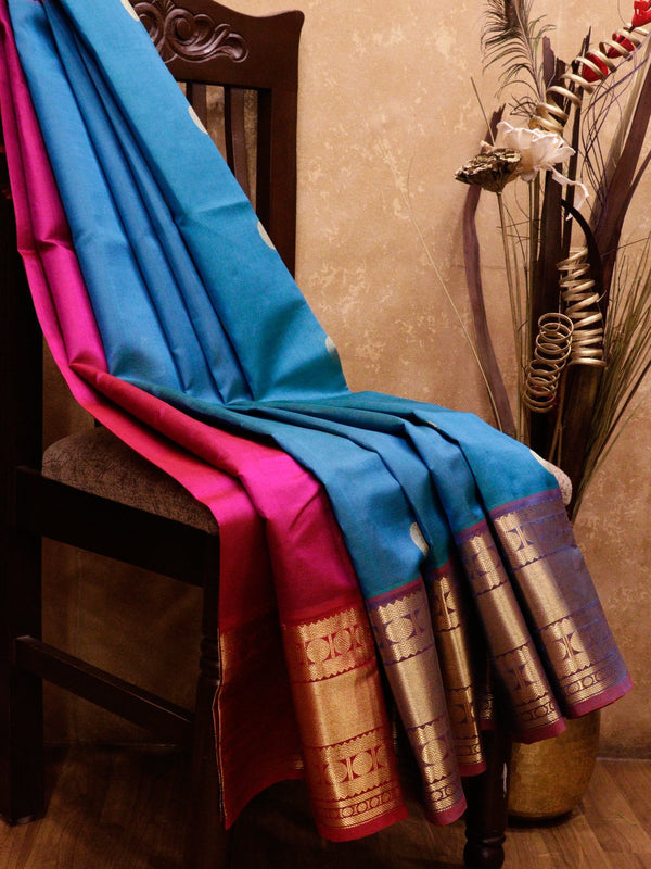 Silk Cotton Saree partly pallu teal and pink with rudraksham border and coin buttas