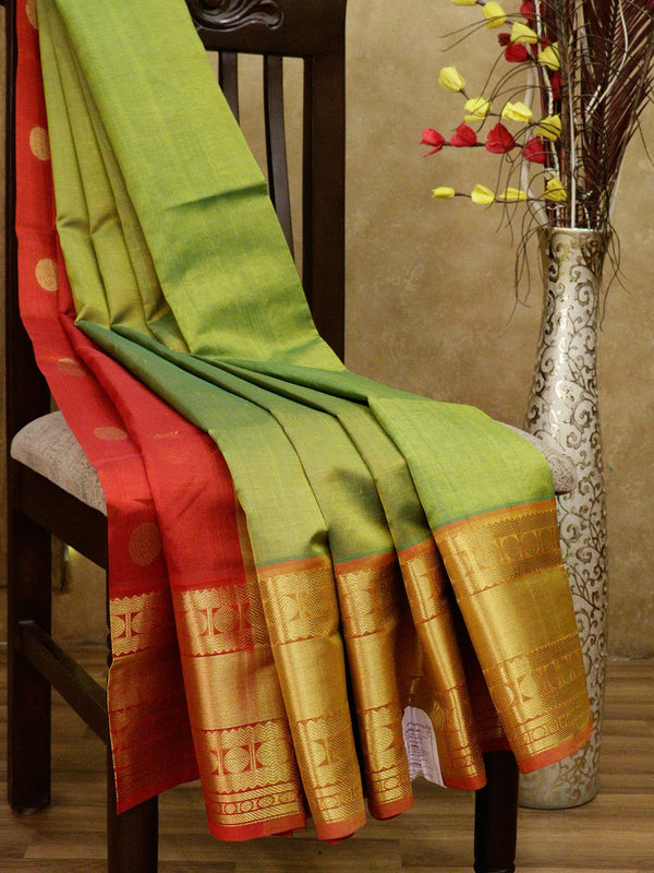 Silk Cotton Saree partly pallu lime green and rust with rudraksham border and coin buttas