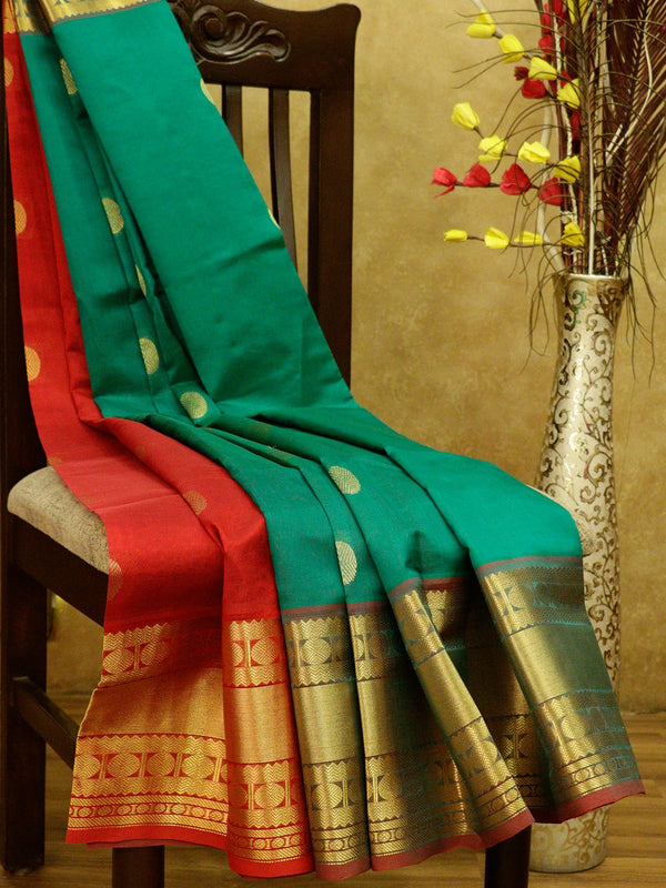Silk Cotton Saree parly pallu green and red with rudraksham border and coin buttas