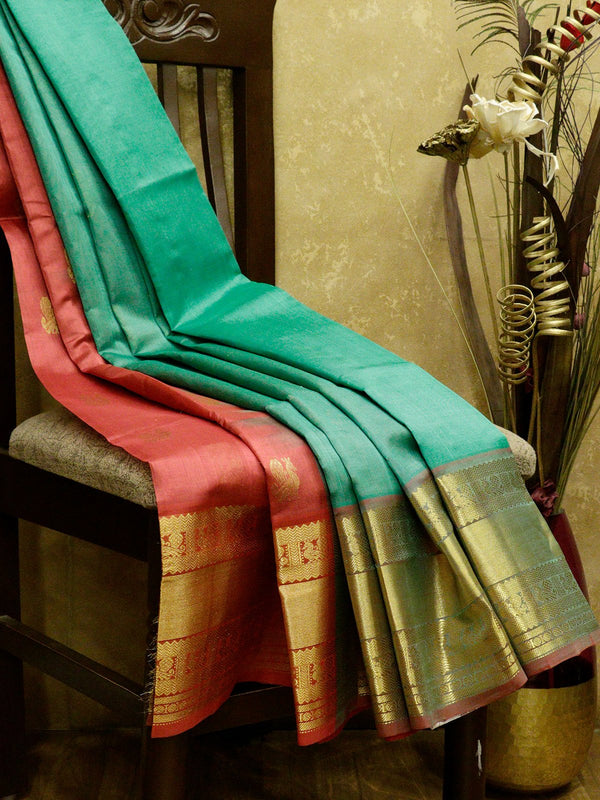 Silk Cotton Saree parly pallu teal green and red with golden zari peacock border