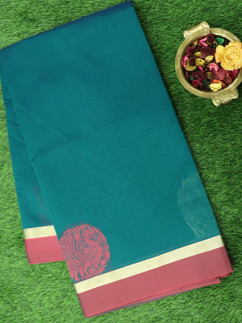 Semi Silk Cotton Saree peacock green and pink with thread and zari peacock buttas and zari border