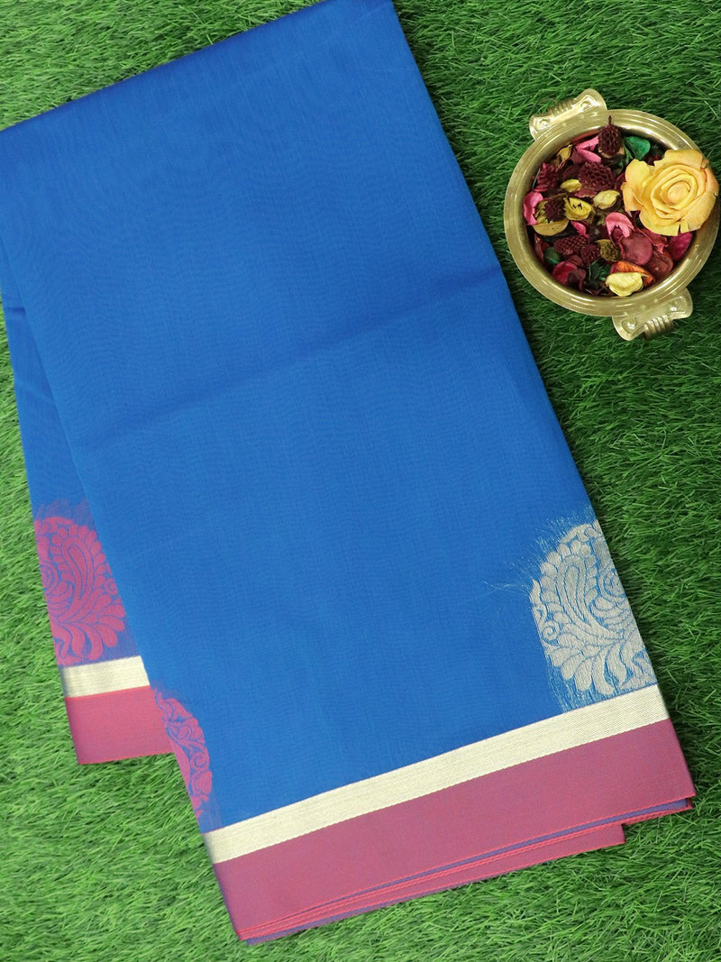 Semi Silk Cotton Saree cs blue and pink with thread and zari peacock buttas and zari border
