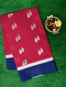 Semi Silk Cotton Saree magenta pink and navy blue with golden zari buttas and simple zari border