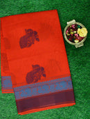 Semi Silk Cotton Saree red and navy blue with peacock thread buttas and border