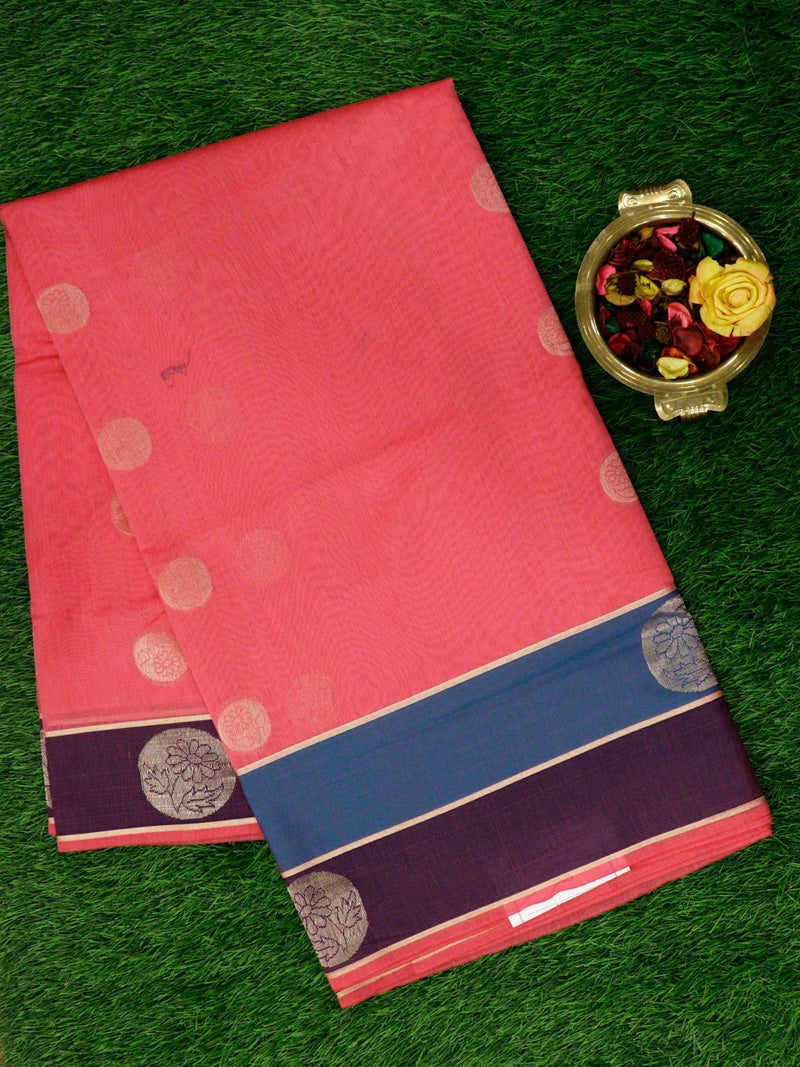Semi Silk Cotton Saree baby pink with golden zari floral buttas and double colour border