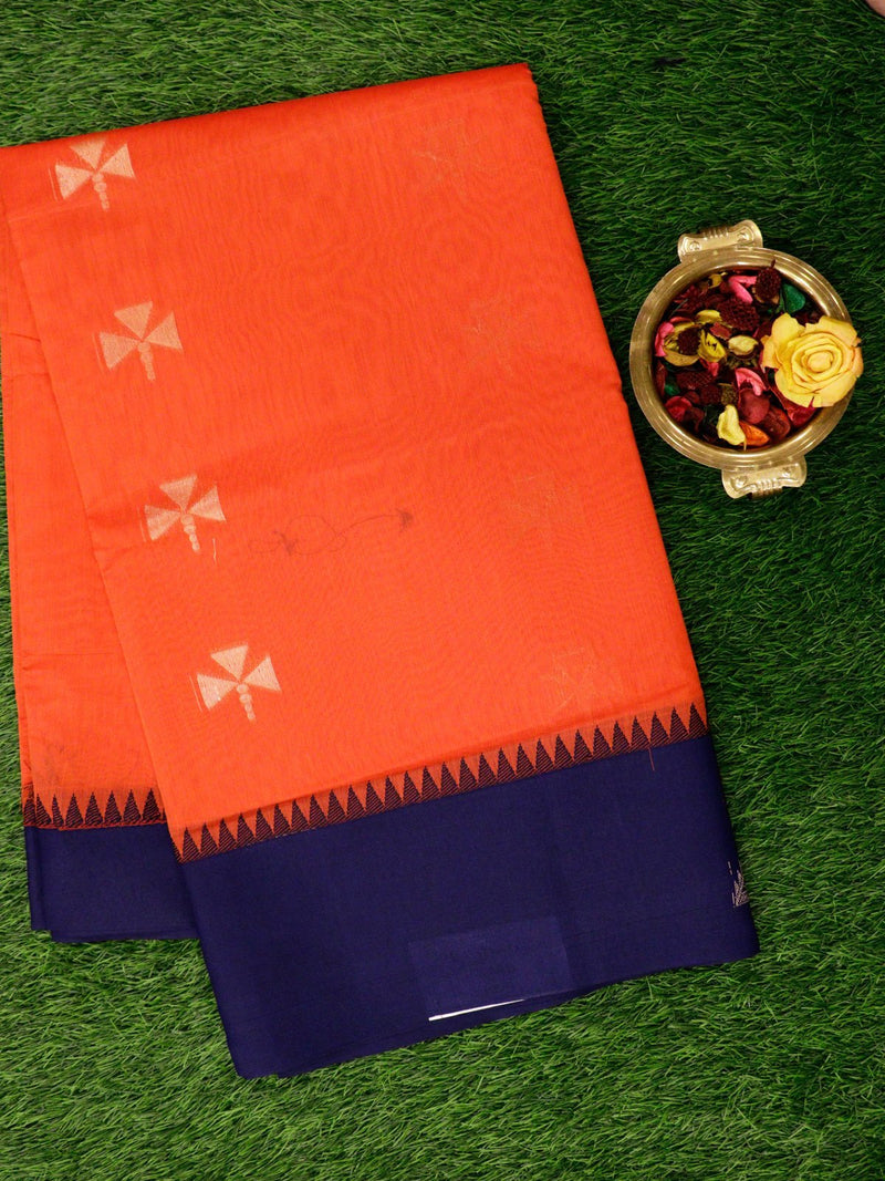Semi Silk Cotton Saree peach and navy blue with golden zari buttas and geometric zari butta border