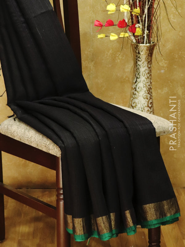 Matka silk saree black with jamdani weaves