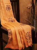 Pure Silk Linen Saree peach with hand embroidery