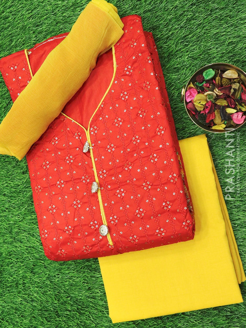 Cotton salwar material red and mustard yellow with allover embroidery and chiffon dupatta