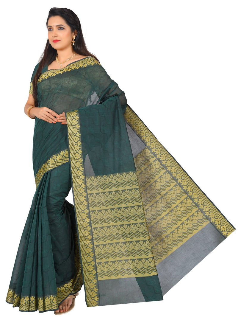 coimbatore Cotton Saree - Dark Green