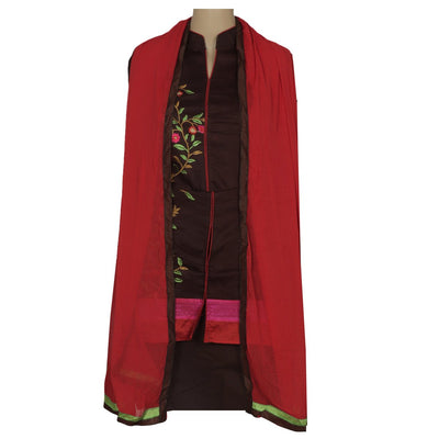 Dress Material - Brown Soft cotton embroidered suit with shiffon dupatta