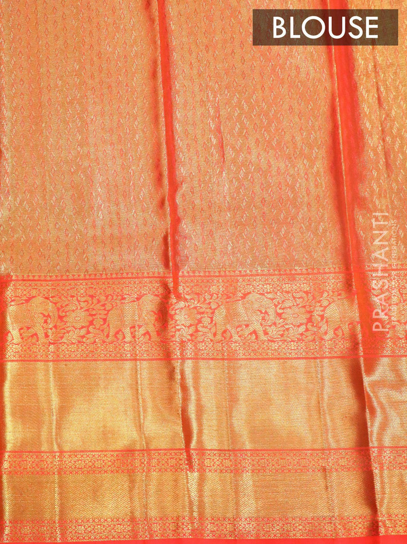 Bridal Kanjivaram Pure Silk Saree green tissue and peach with allover floral self emboss and long elephant border