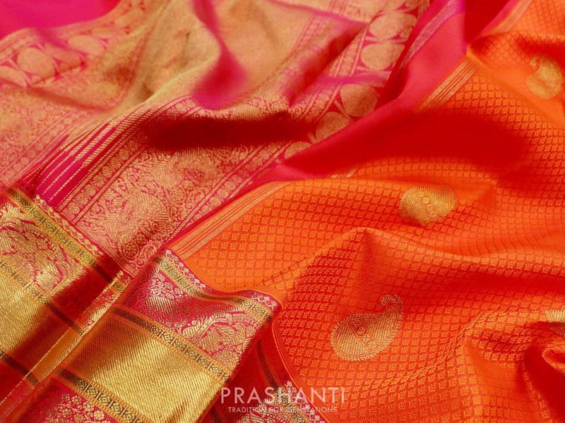 Bridal Kanjivaram Pure Silk Saree orange and pink with self emboss zari buttas and traditional zari border
