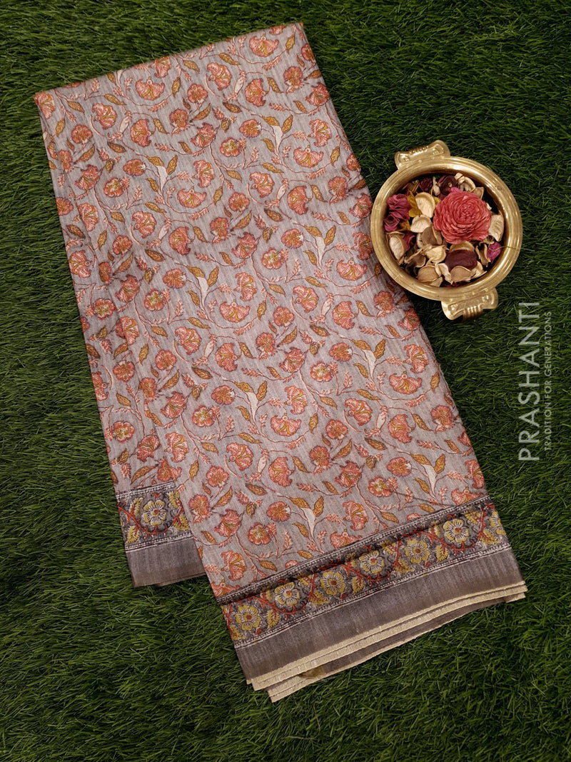 Bhagalpuri printed saree grey with kalamkari prints