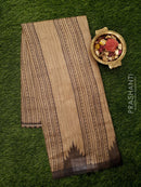 Bhagalpuri printed saree beige and grey with allover stripes and temple design border