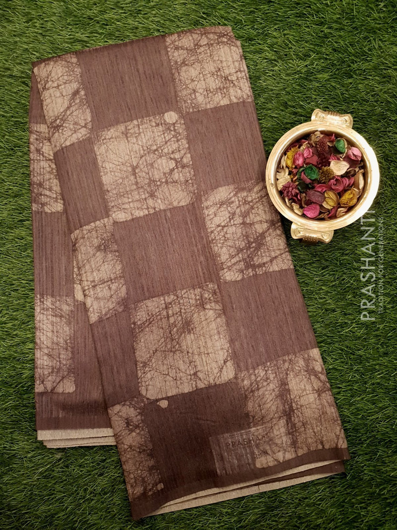 Bhagalpuri printed saree brown with geometric digital prints
