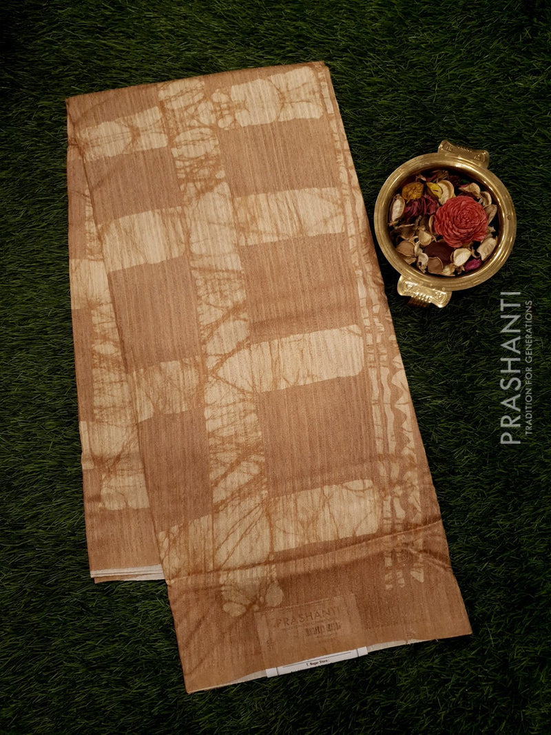 Bhagalpuri printed saree beige with die and die checked pattern
