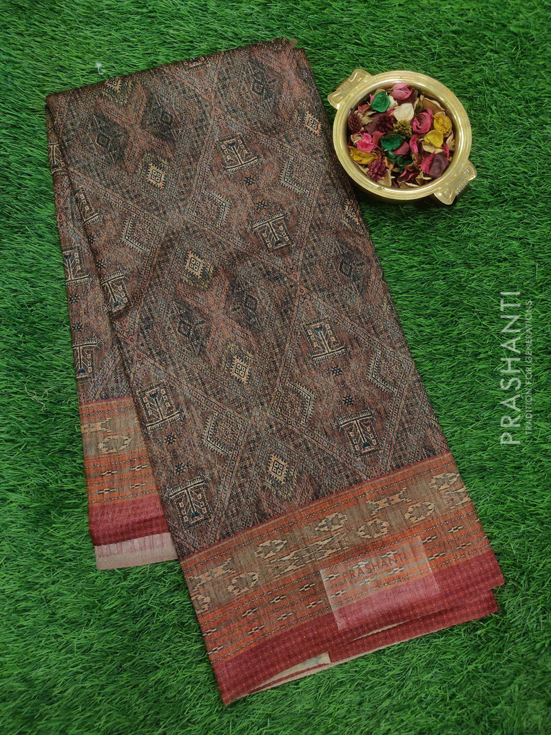 Bhagalpuri printed saree brown with all over digital print