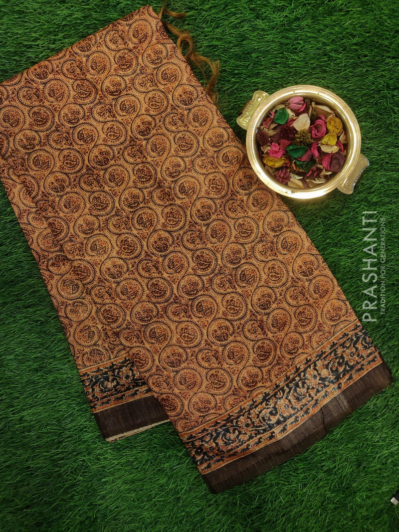 Bhagalpuri printed saree brown with kalamkari digital print