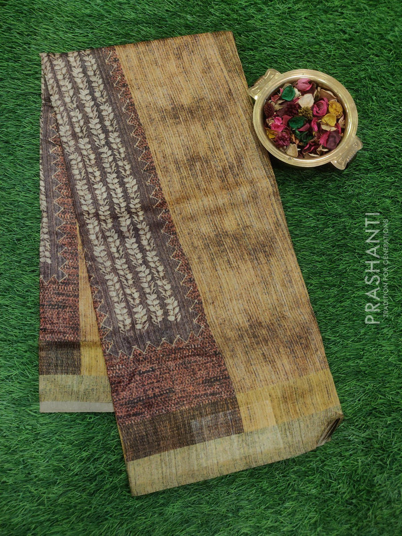 Bhagalpuri printed saree mustard and brown with digital prints