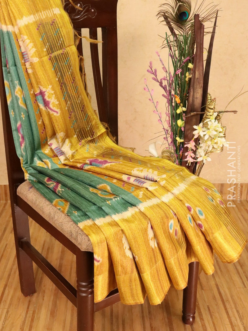 Champa saree green shade and mustard yellow with ikat prints and simple zari border