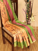 Champa saree peach and green with allover ikat floral prints and simple zari border