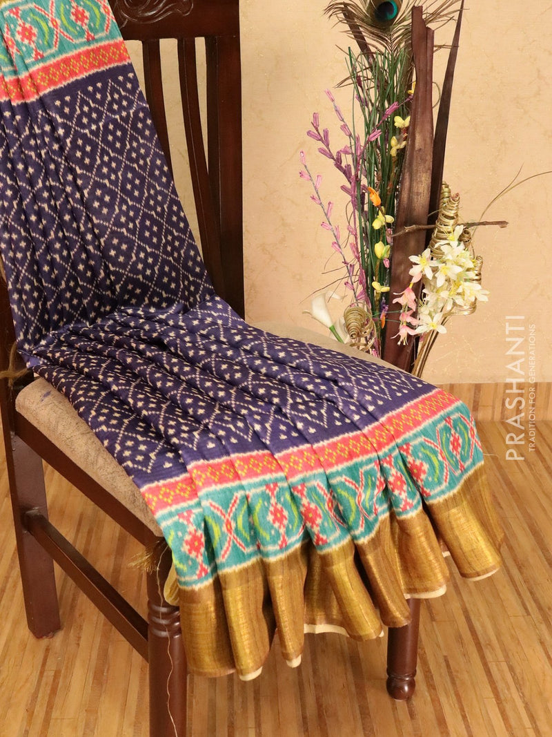 Champa saree violet and mehandi green with allover ikat prints and border