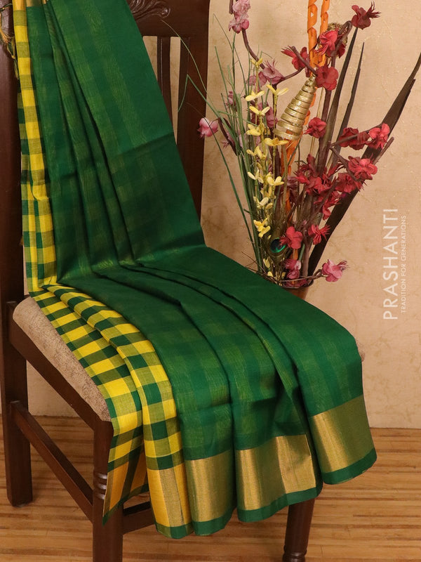 Silk cotton partly saree green and lime yellow plain body with checked pallu and blouse