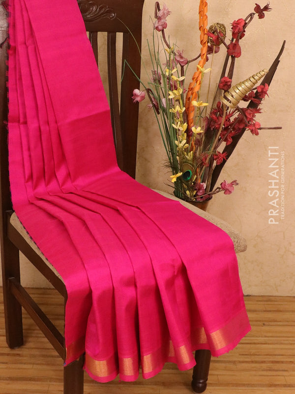 Silk cotton partly saree pink and blue plain body with checked pallu and blouse