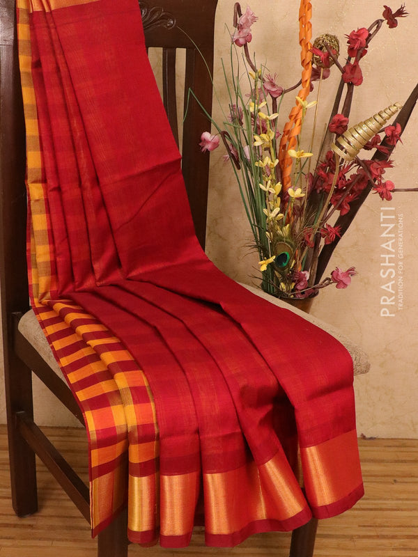 Silk cotton partly saree maroon and mustard yellow plain body with checked pallu and blouse
