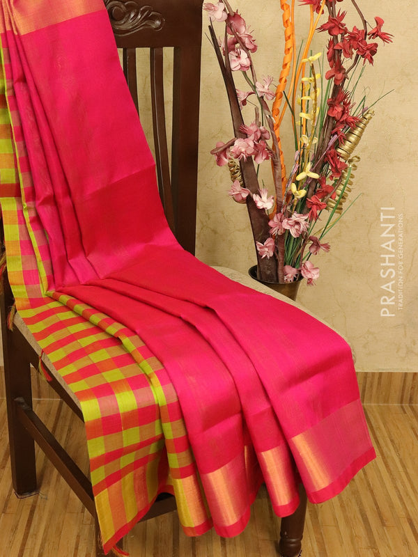 Silk cotton partly saree pink and green plain body with checked pallu and blouse